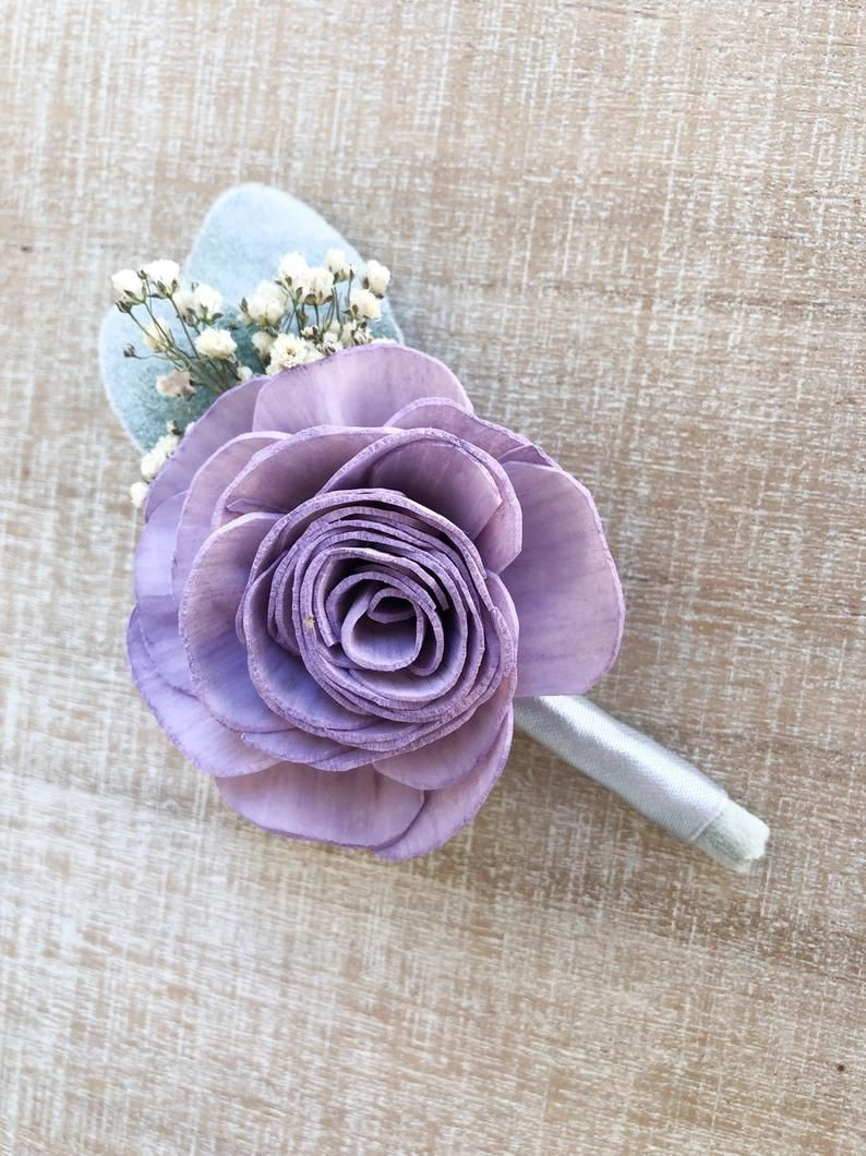 I Do Collection DIY Wood Flower Boutonnière or Wrist