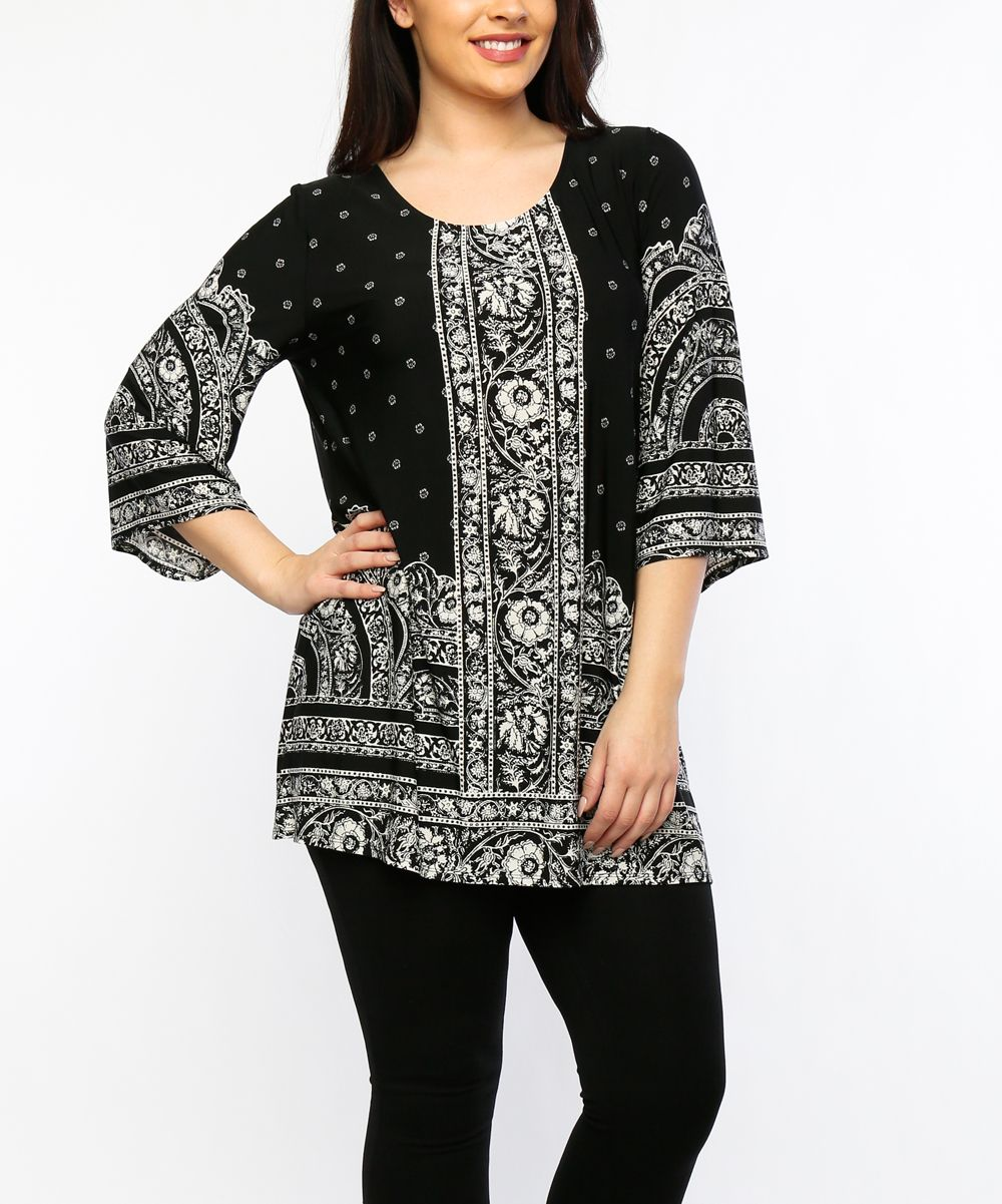 Black Scarf Print Tunic - Plus