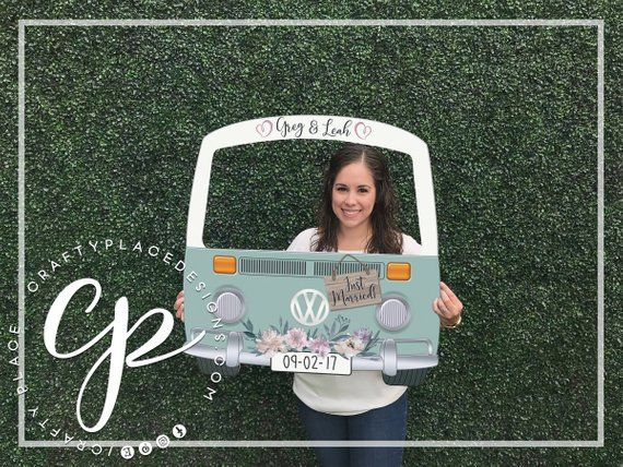 VW Bus photo booth frame | Car photo booth prop | Wedding