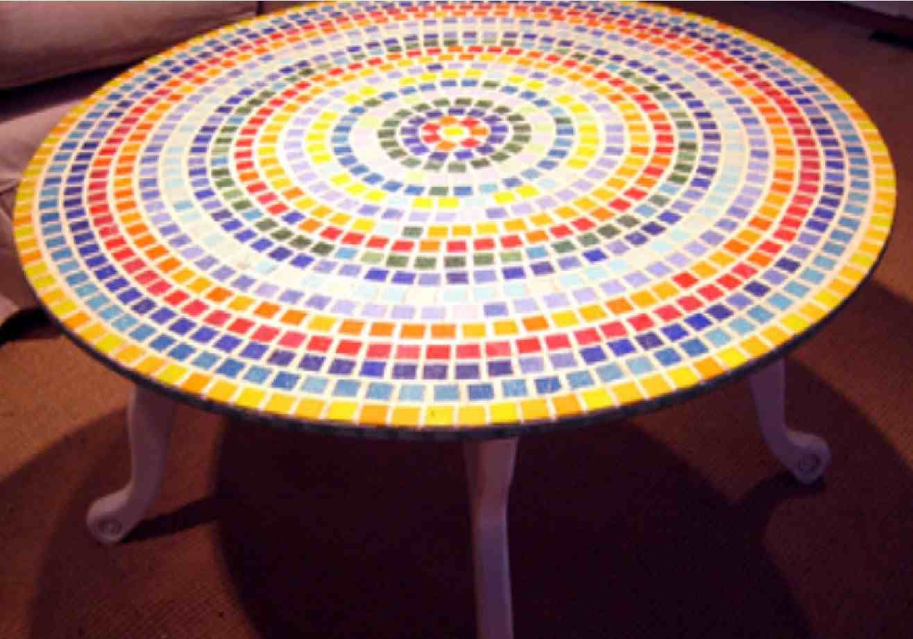 Mosaic Tiles On Top Of Glass Tabletop Diy For Plain Outdoor