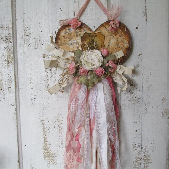 Tattered heart wall decor shabby style white by AnitaSperoDesign