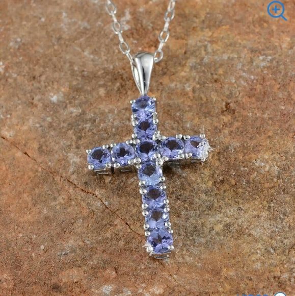 Tanzanite cross necklace cross necklaces overlay and chains aloadofball Choice Image