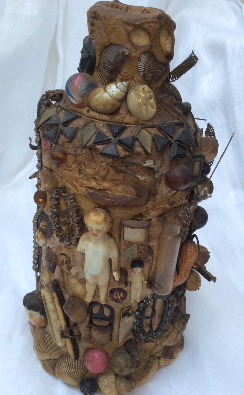 Antique Folk Art Pottery Memory Jug Crock Bisque Doll Marbles Knife Buttons More Pottery Art Antique Folk Art Bisque Doll
