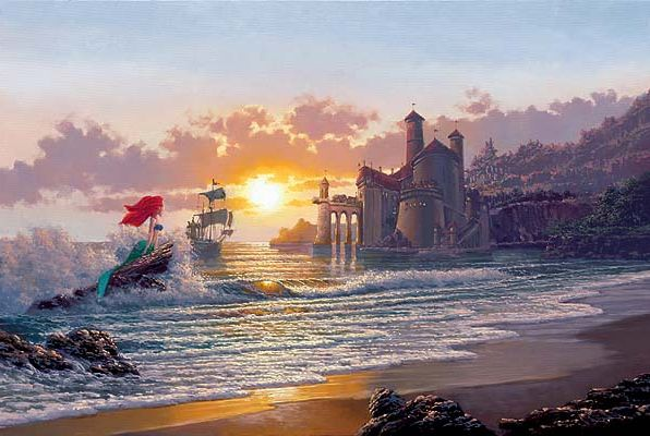 Thomas Kinkade Disneyland 50th Anniversary Castle Painting PROMO Art Postcard