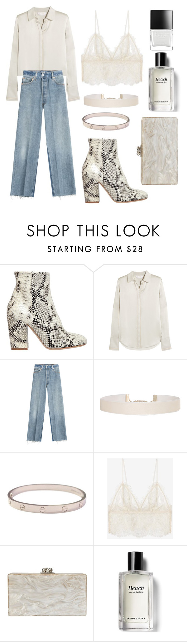 """""""Untitled #87"""" by laurasure ❤ liked on Polyvore featuring Strategia, Chloé, RE/DONE, Humble Chic, Cartier, Anine Bing, Edie Parker, Bobbi Brown Cosmetics and Butter London"""