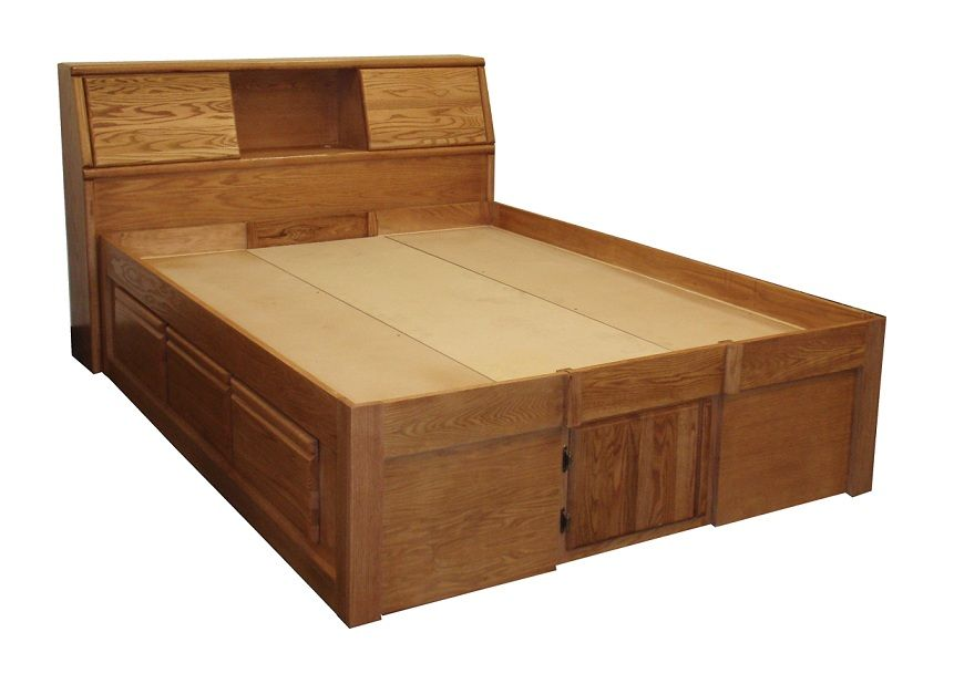 FD3024 Contemporary Oak Pedestal Bed with 6 Drawers