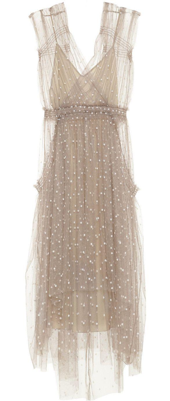 Lela Rose Ivory Polkadot Tulle Dress