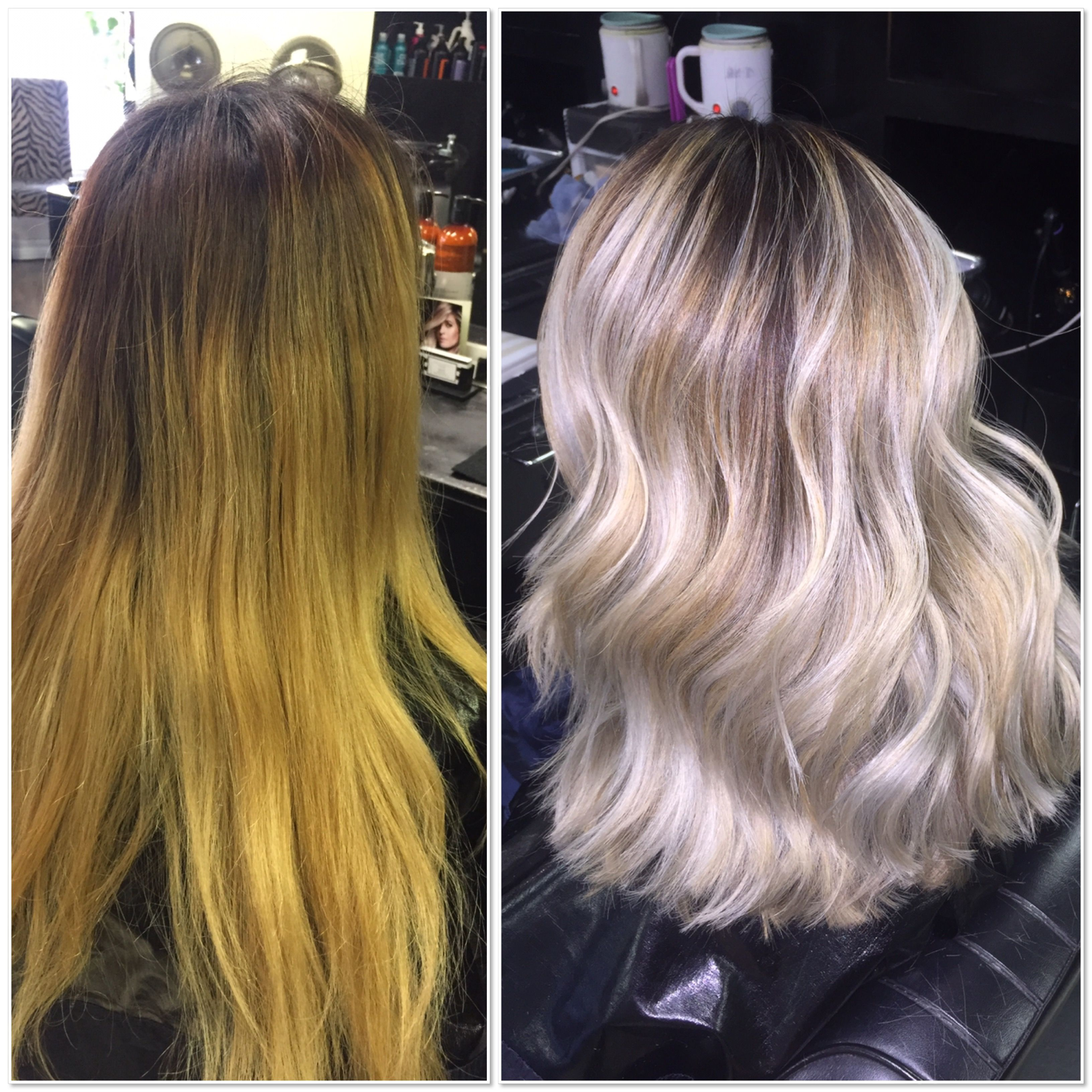 Lightening Brassy Hair Blonde Balayage Color Correction Matrix