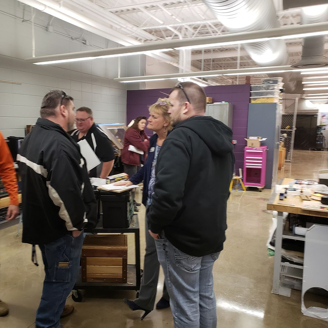 Dave welding lead ryan cnc lead talking with beth who