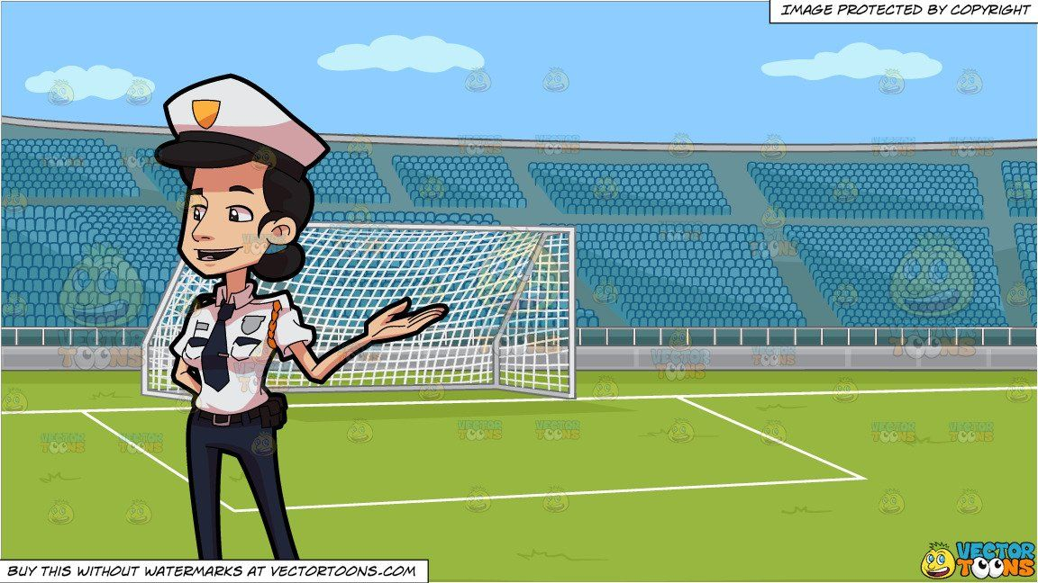 A Friendly Lady Guard On Duty And A Soccer Field With Stadium Seating Background Soccer Field Stadium Football Field