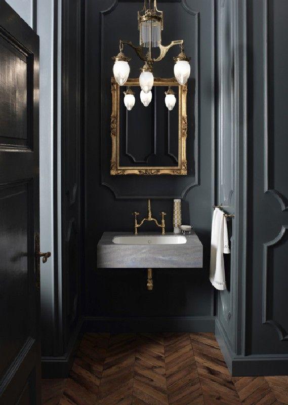 55+ Cool Ideas of Black Powder Room Black powder room, Powder room