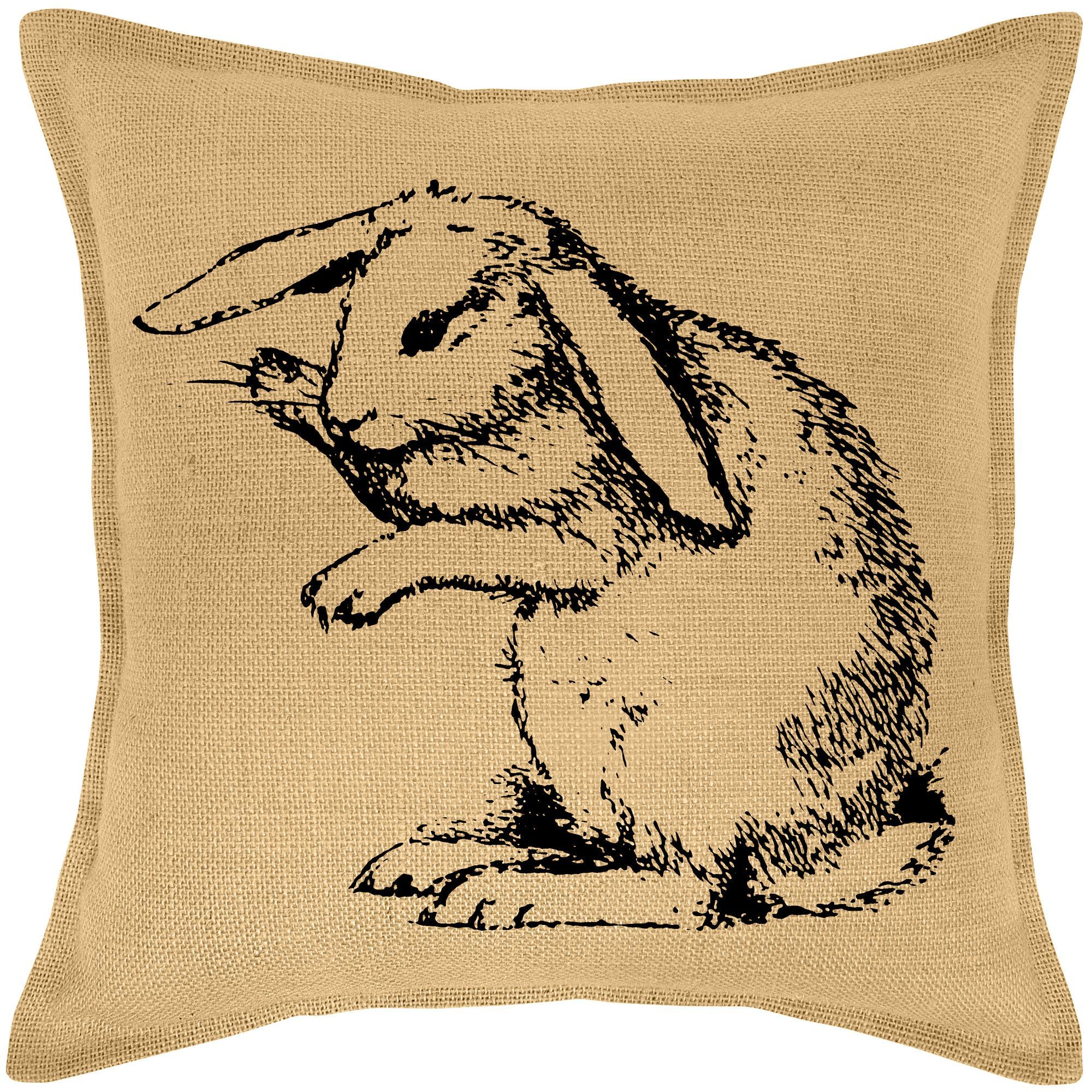 Bunny Burlap Throw Pillow