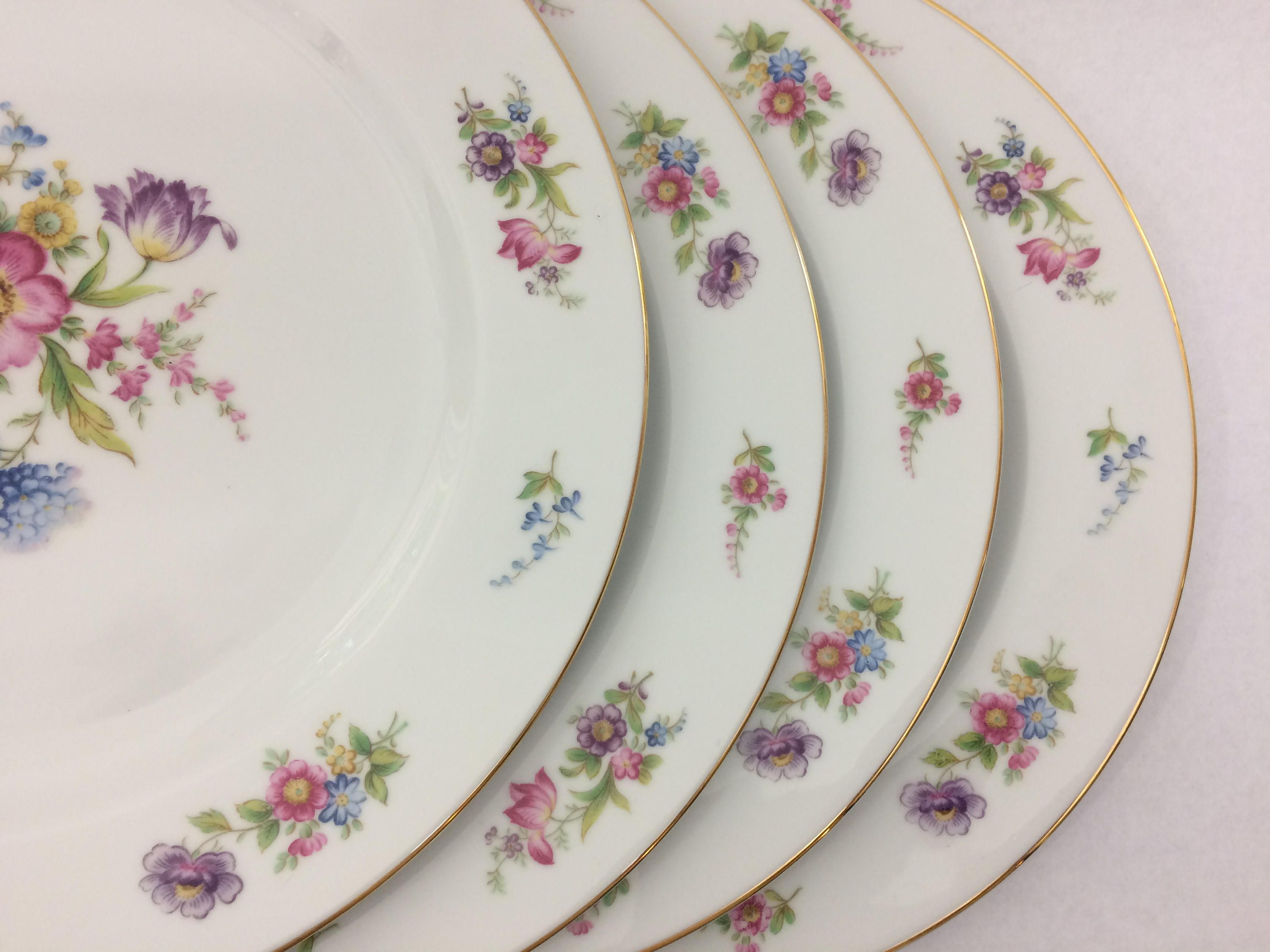 Vintage 8 Piece Noritake China Dresgay Pattern 4 Place Settings Dinner Plates and Salad Plates by & Vintage 8 Piece Noritake China Dresgay Pattern 4 Place Settings ...