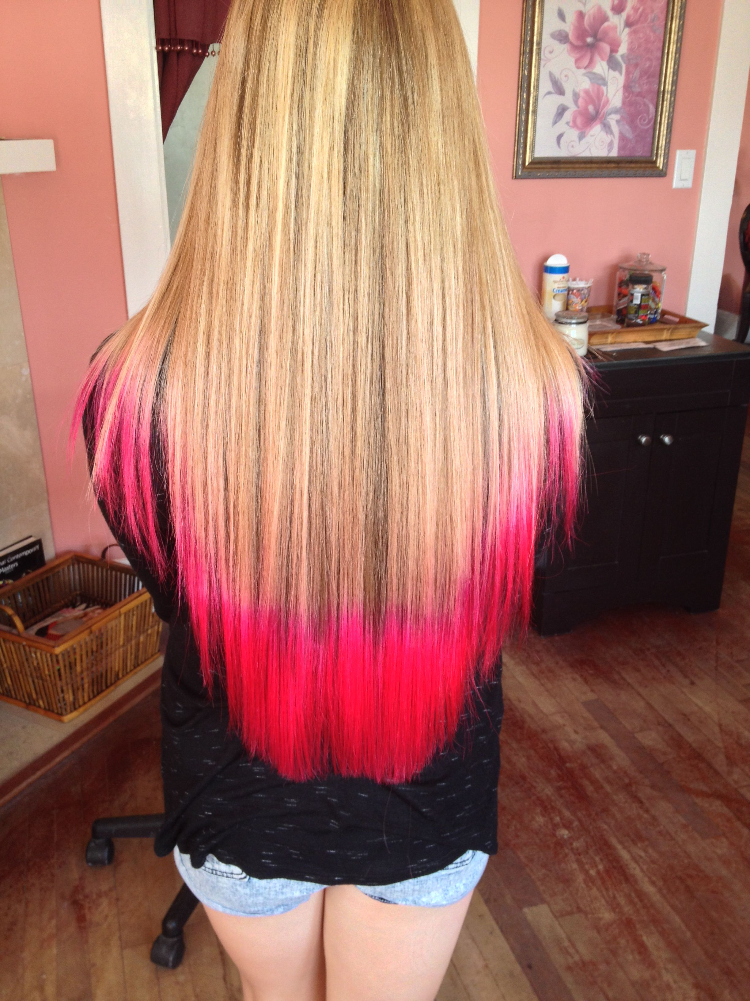 Atomic Pink Tips With Blonde Hair With Images Brown Hair Dye