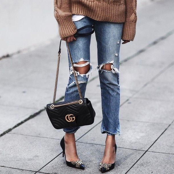 416fc3d4e29 Jeans  tumblr denim blue ripped bag black bag gucci gucci bag chain bag  pumps pointed toe pumps high