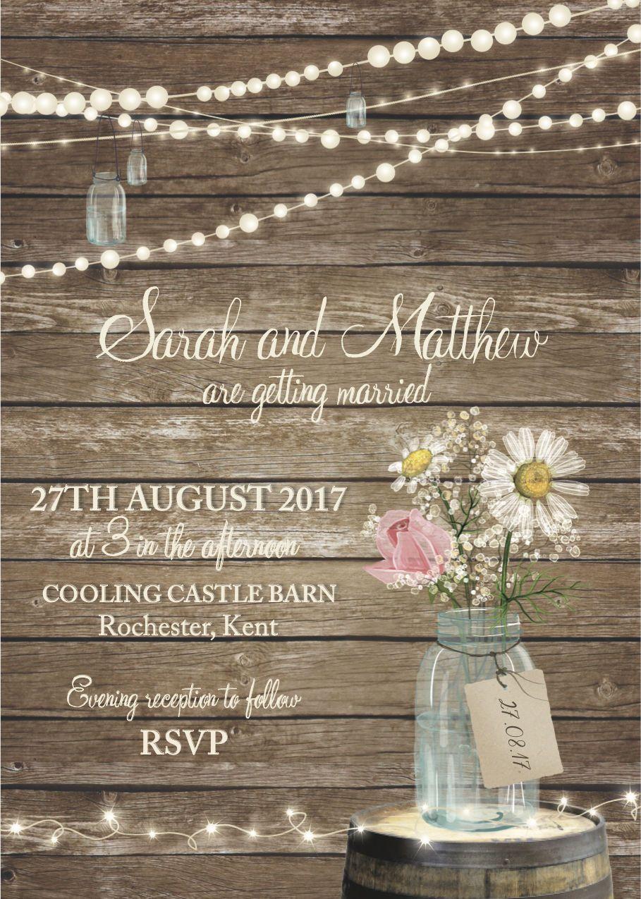 c16cdaf35376 50 Rustic Wood Jam Jar Fairy Lights Barn Country Wedding Invitations!