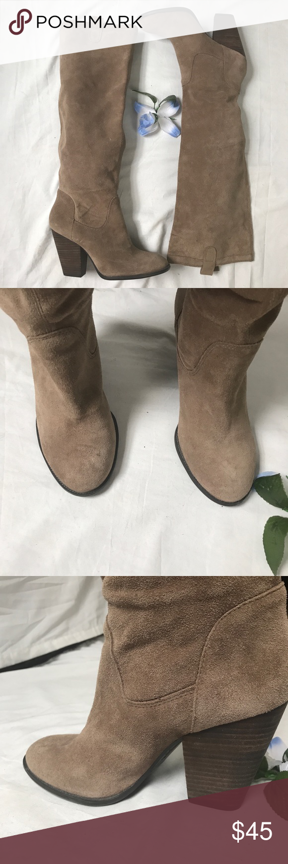 VINCE CAMUTO Leather Upper. Tan VINCE CAMUTO Leather Upper. Tan. Brand new never worn. See photos for details. Size 8b. Vince Camuto Shoes Heeled Boots