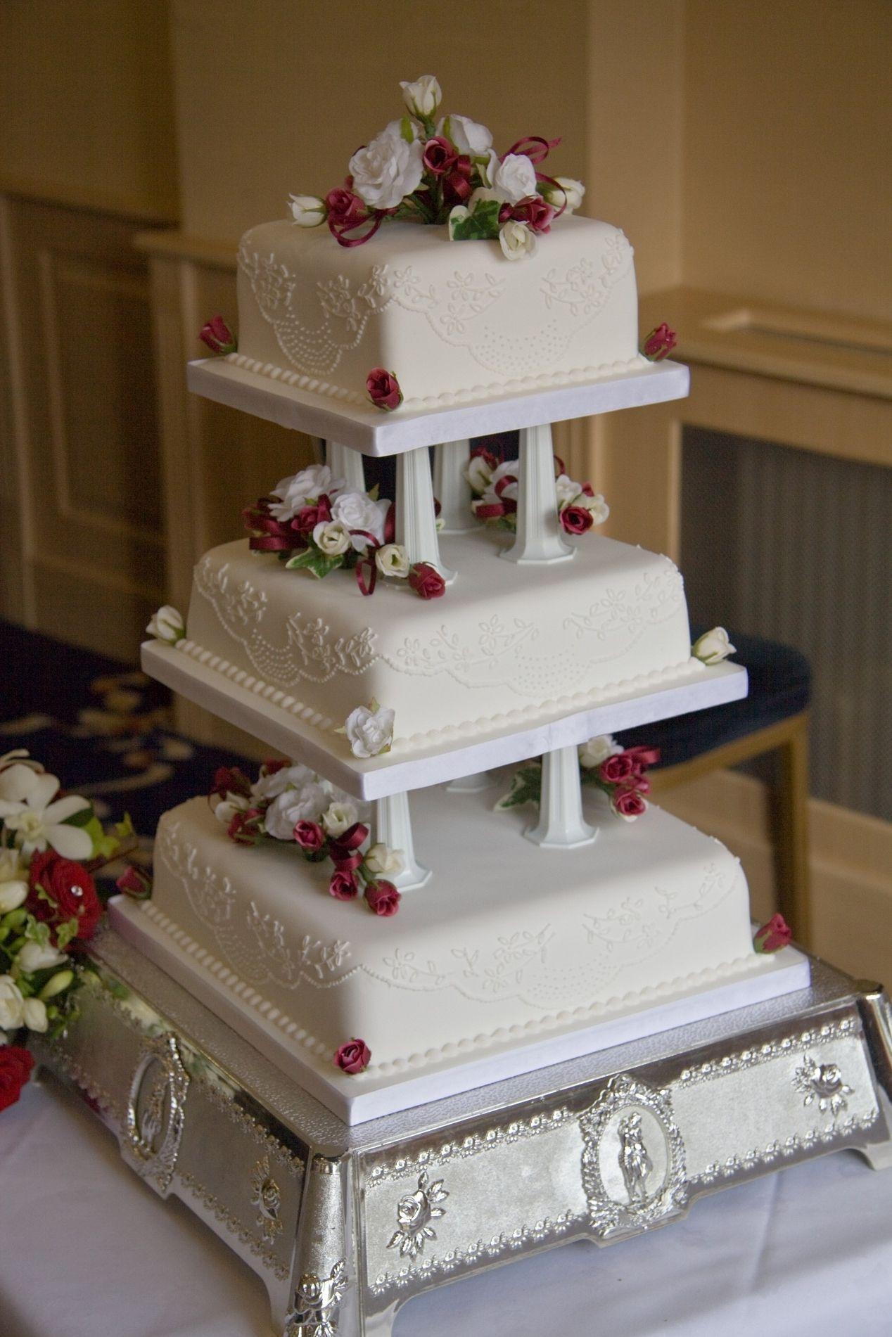 Square Wedding Cakes With Columns  Wedding Dress  Pinterest