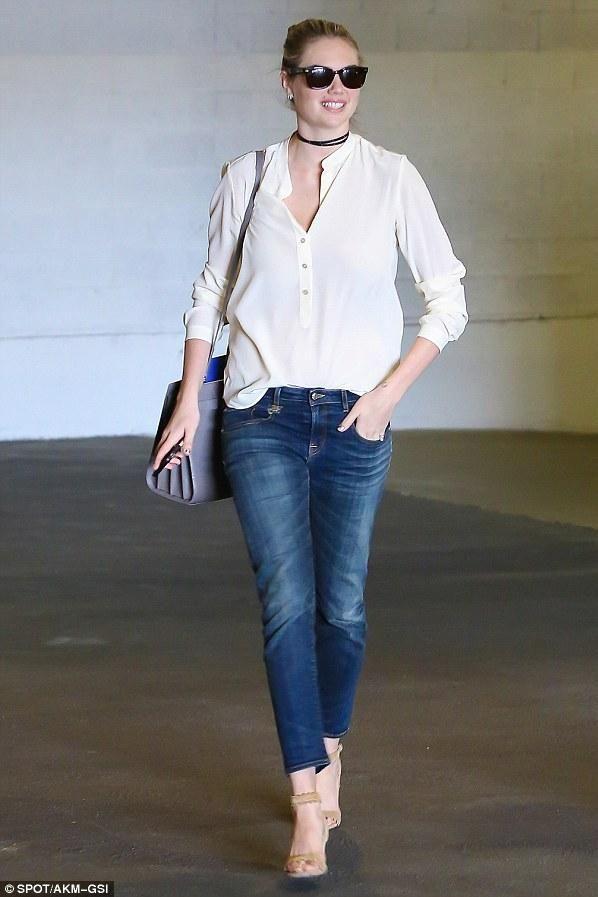 Kate Upton wearing Saint Laurent Sac De Jour Bag and Tabitha Simmons Leticia…
