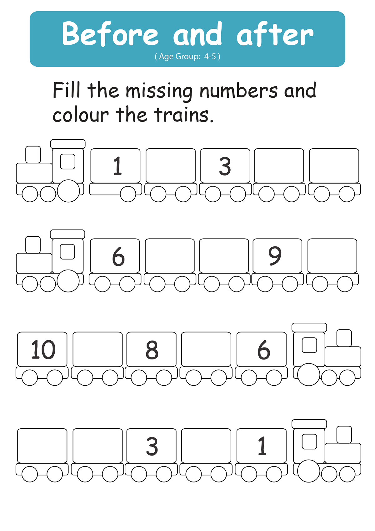Before And After Number Worksheets 4 With Images