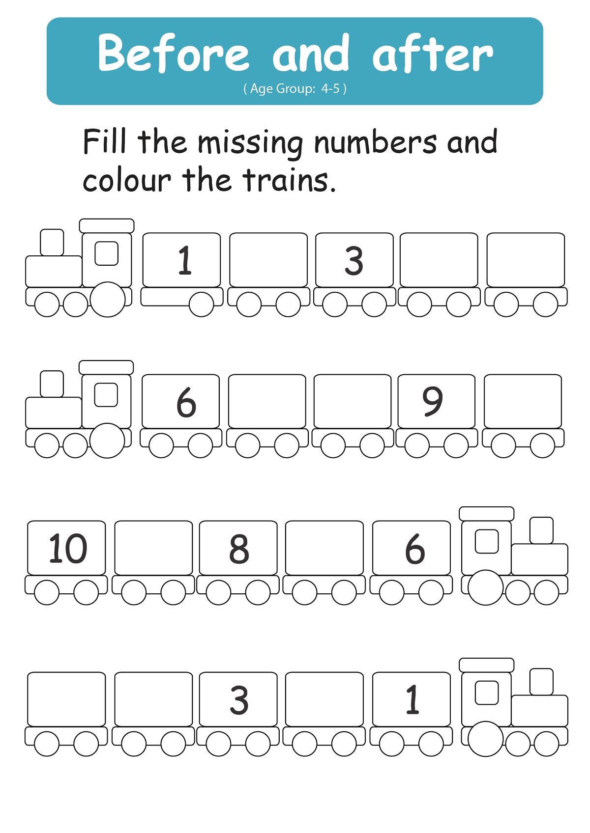 Before And After Number Worksheets Loving Printable Okul Oncesi Calisma Cizelgeleri Anaokulu Matematigi Evde Egitim