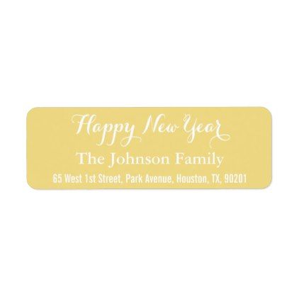 Custom Faux Gold Happy New Year DIY Return Address Label Return