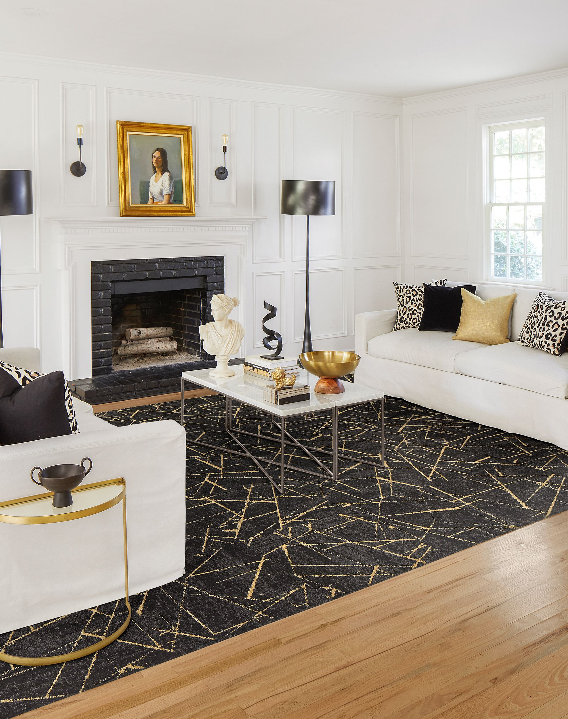 Half Moon Side Table Chasing Pavement Flint Gold All Area Rugs Carpet Tiles By Flor Black Carpet Living Room Carpet Tiles Black Carpet Bedroom