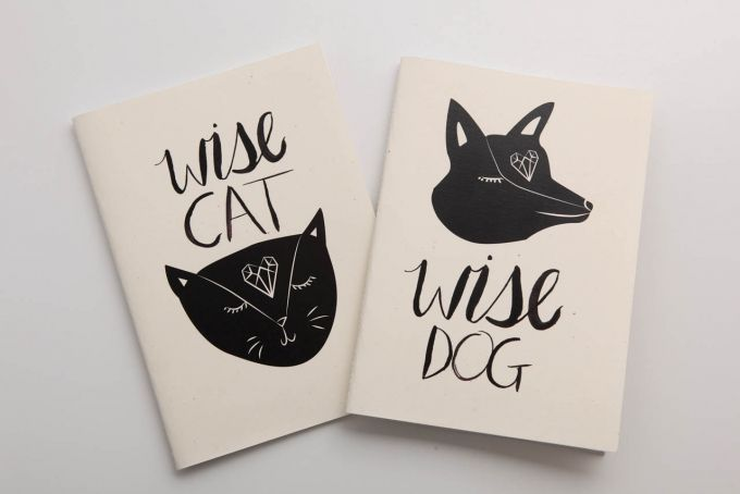 Wise Cat Wise Dog Notebook by Past Present on hellopretty.co.za