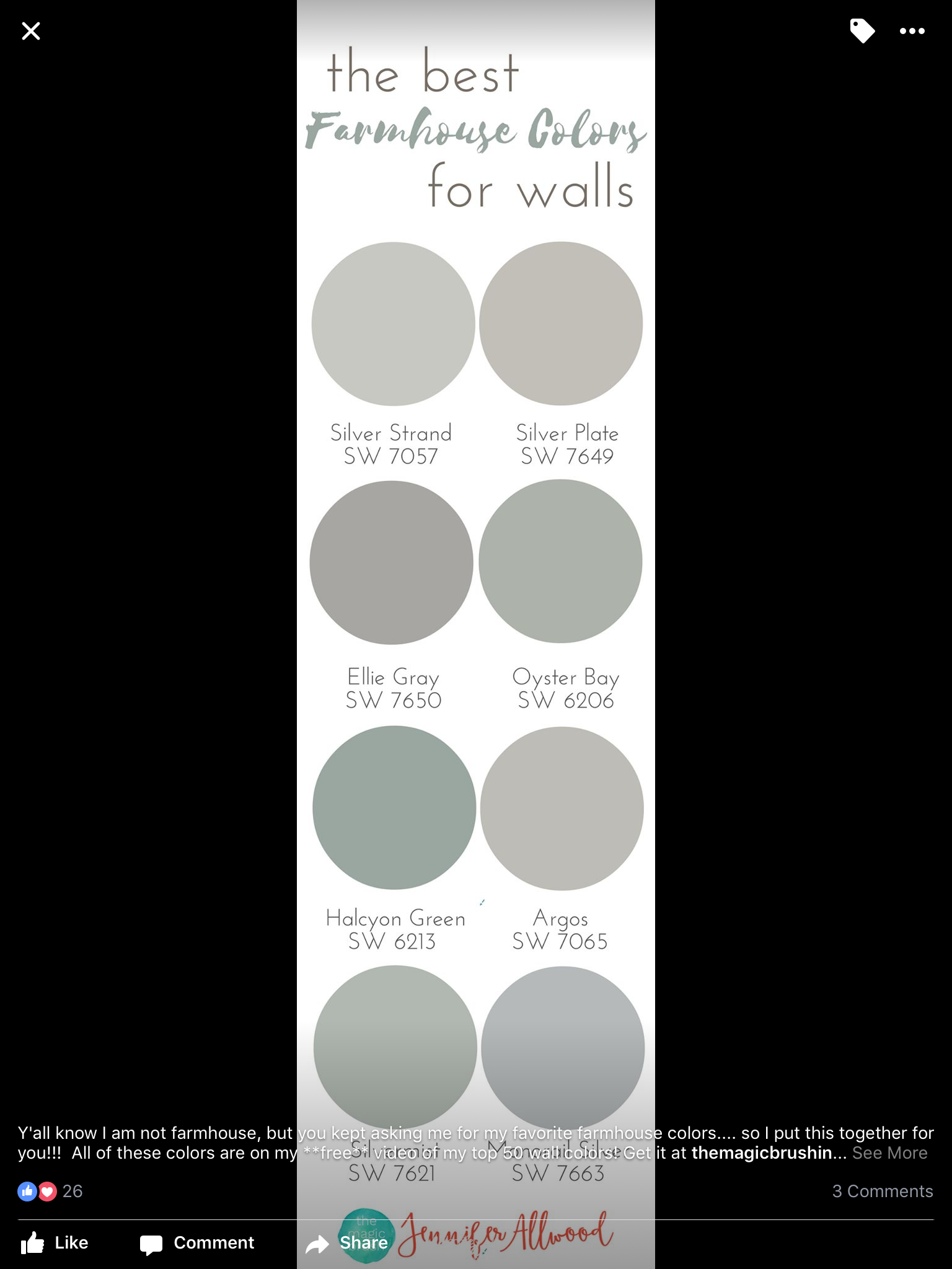 The Best Farmhouse Wall Colors By Jennifer Allwood
