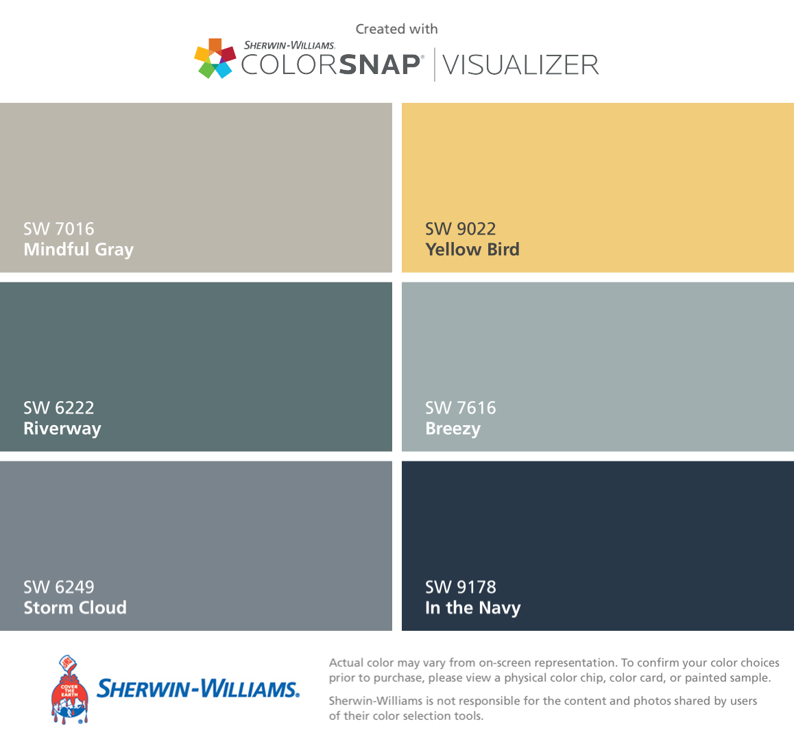 Sherwin williams paint colors sherwin williams 6249 storm cloud - I Found These Colors With Colorsnap Visualizer For Iphone By Sherwin Williams Mindful Gray Sw Riverway Sw Storm Cloud Sw Yellow Bird Sw Breezy Sw In