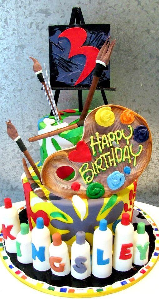 Sensational Art Themed Birthday Cake With Images Artist Cake Art Party Funny Birthday Cards Online Hendilapandamsfinfo