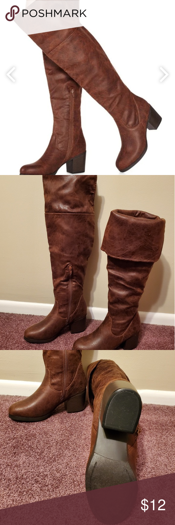 21c1722e31c3 OTK boots NWT; Justfab Norra in Brown. Wide Calf. Foldover or wear OTK