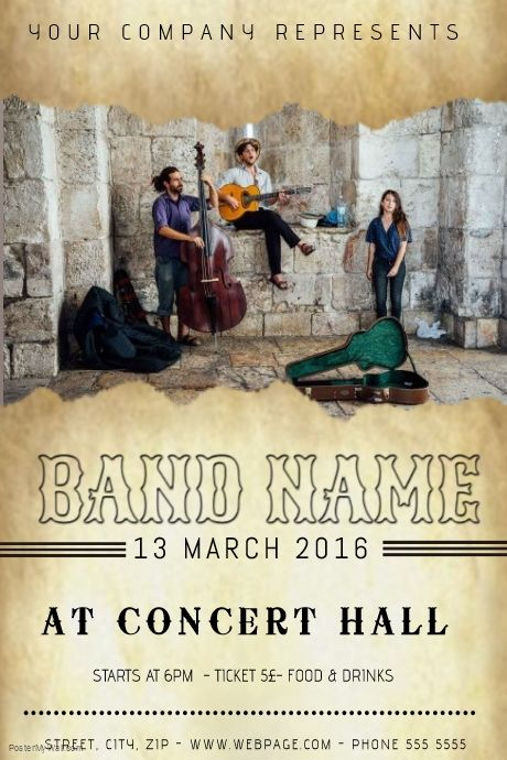 guitar indie old folk band concert event band flyer template - band flyer template