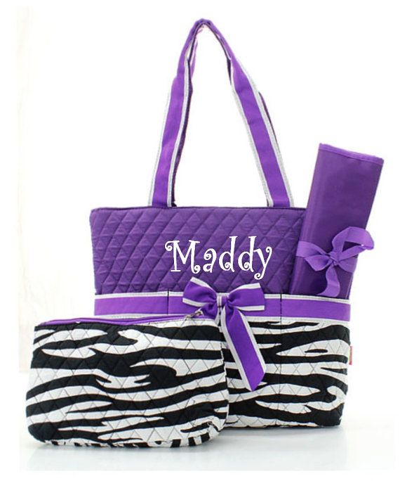 Personalized Zebra And Purple Diaper Bag Set By Mauricemonograms 36 00