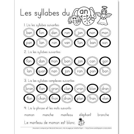 Fichier pdf t l chargeable en noir et blanc 1 page les l ves doivent d 39 abord lire les syllabes - Couper les mots en syllabes ...