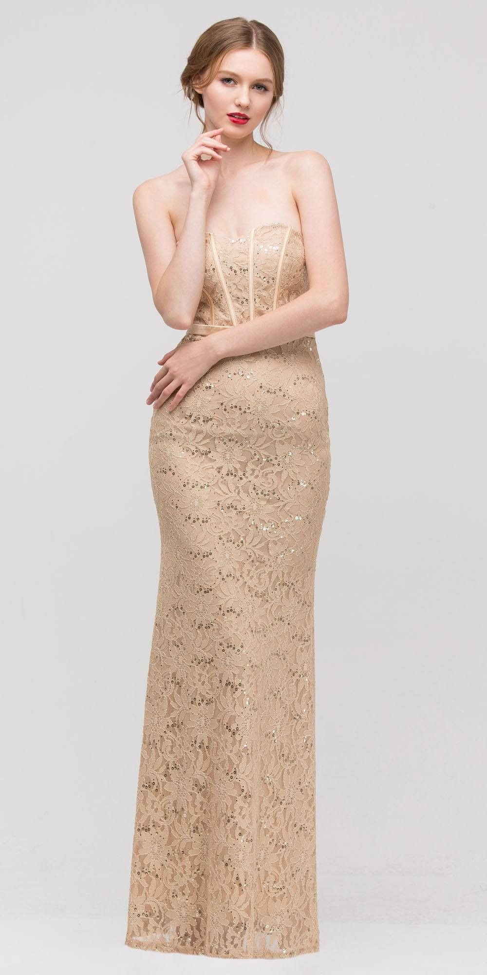 Long Lace Gown Silver Sheath Mermaid Flare Strapless Mid Sleeve Jacket