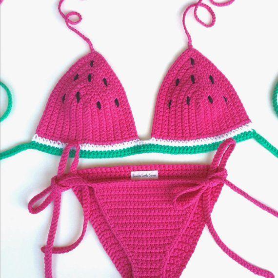 010aa24ef8 Crochet PINK WATERMELON bikini set