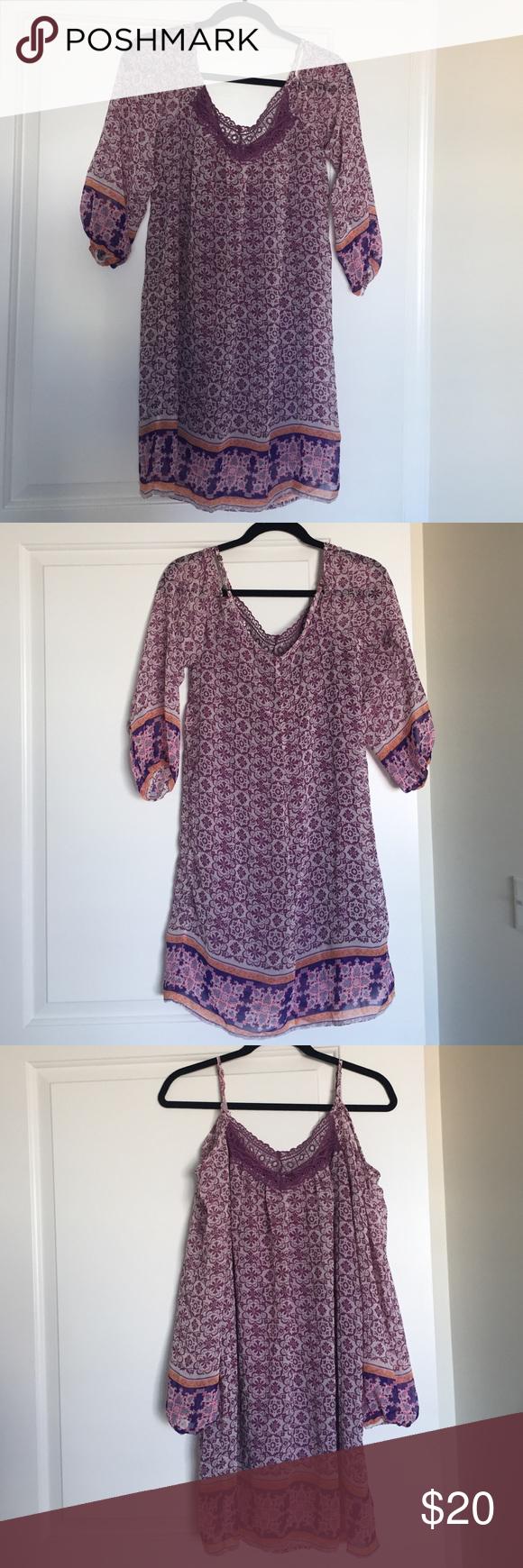 XHILARATION boho cold shoulder dress NWOT - cute vibrant bohemian dress! Perfect for vacation! Wear cold shoulder or long sleeves. Adjustable straps. Fully lined. Xhilaration Dresses