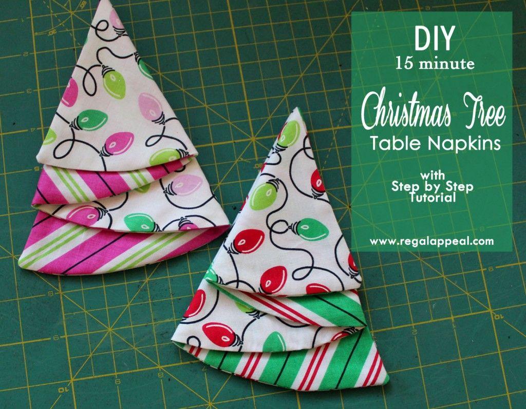 Diy Christmas Tree Table Napkin Tutorial Easy Christmas Diy Christmas Sewing Patterns Christmas Tree Napkins