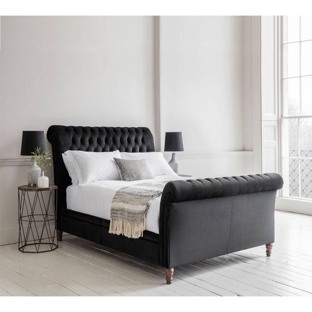 Best Blenheim Black Velvet Bed Upholstered French Bed 400 x 300