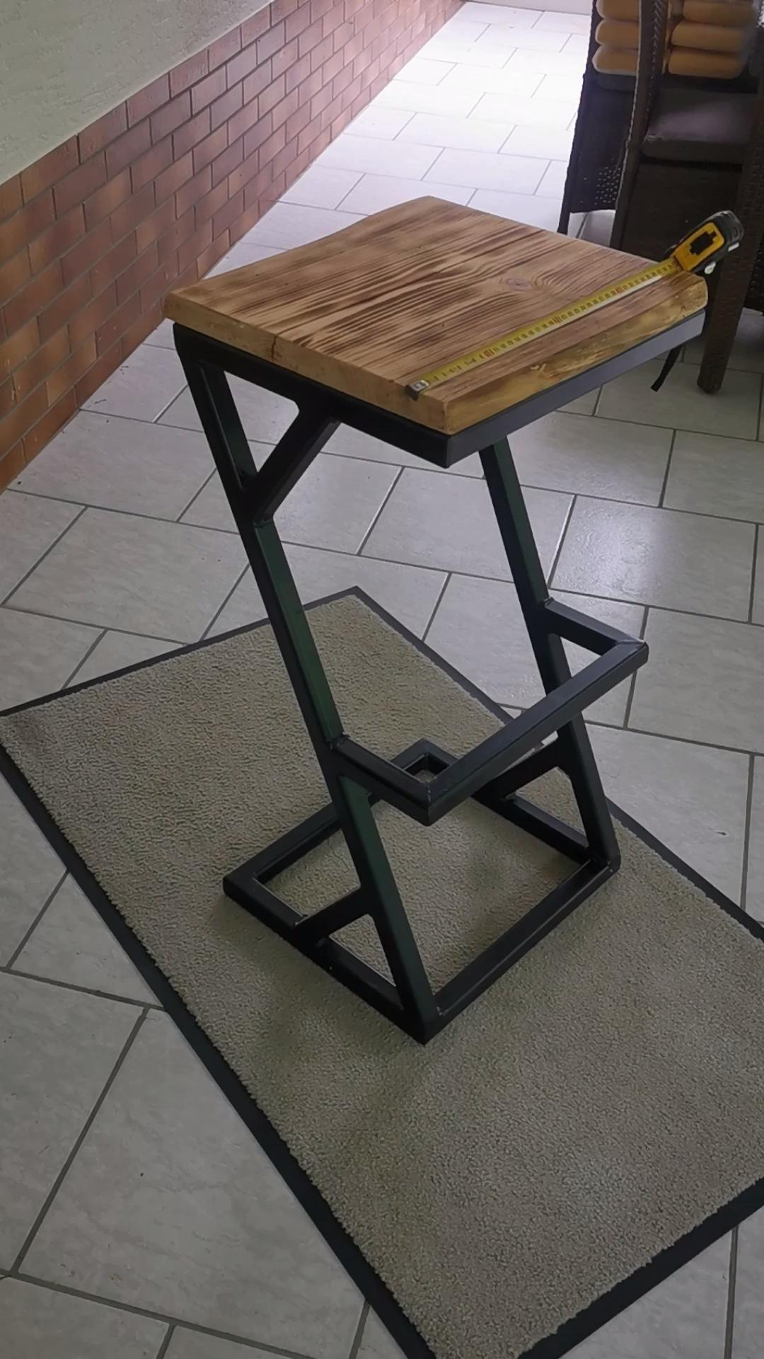 Z-Stuhl aus Eichenholz und Stahl Industrial Design
