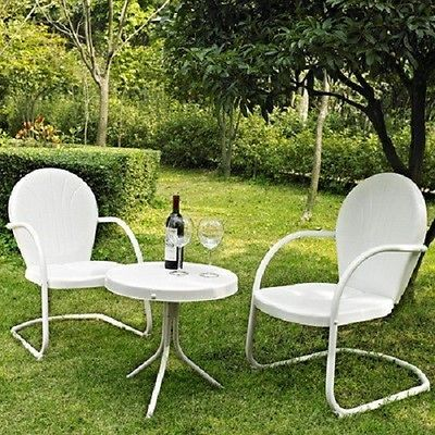 Brilliant 3 Pc Metal Vintage Retro Outdoor Furniture Lawn Patio Interior Design Ideas Gresisoteloinfo