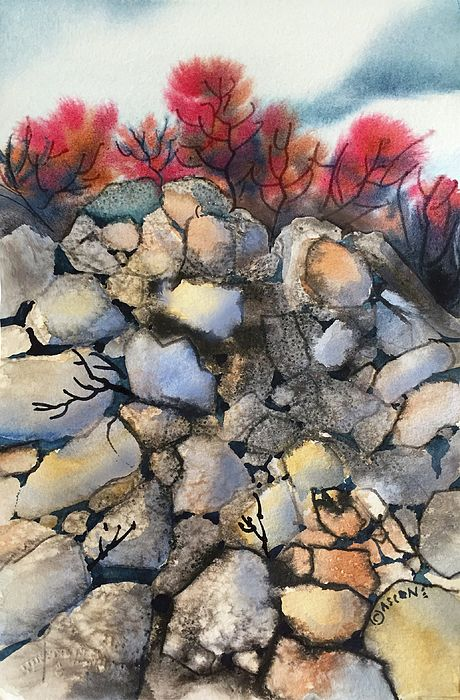 Mighty Cliffs By Teresa Ascone India Ink Art Watercolor Art