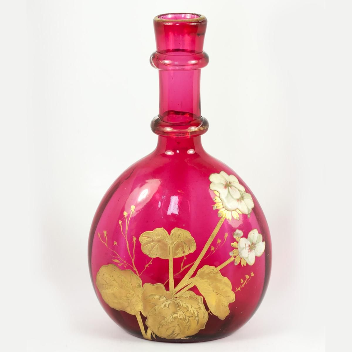 Antique French Legras Enameled Decanter Cranberry Glass Gold 9 5 Tall 6 Widest Antique Glass Cranberry Glass Cranberry Glass Vase