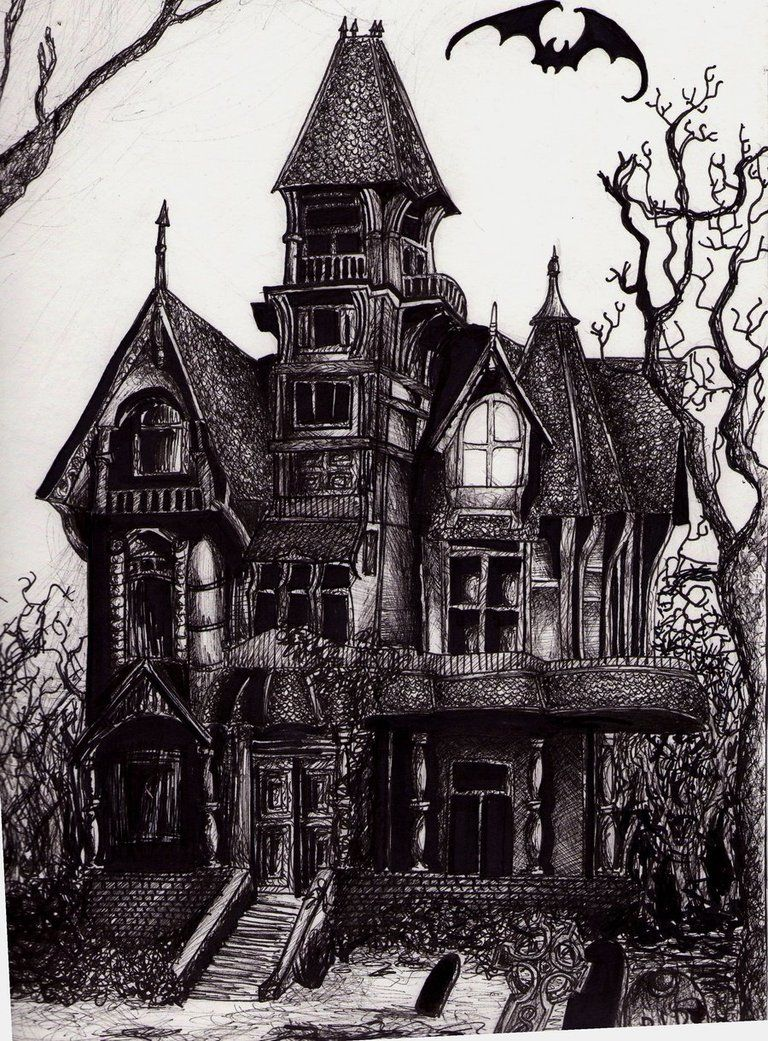 Image result for haunted house with chimney drawing tats Haunted house drawing ideas