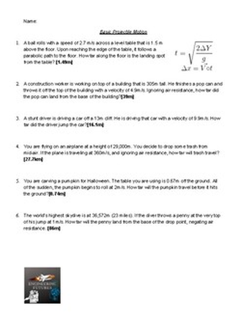 Projectile Motion Worksheets Projectile Motion Word Problem Worksheets Word Problems
