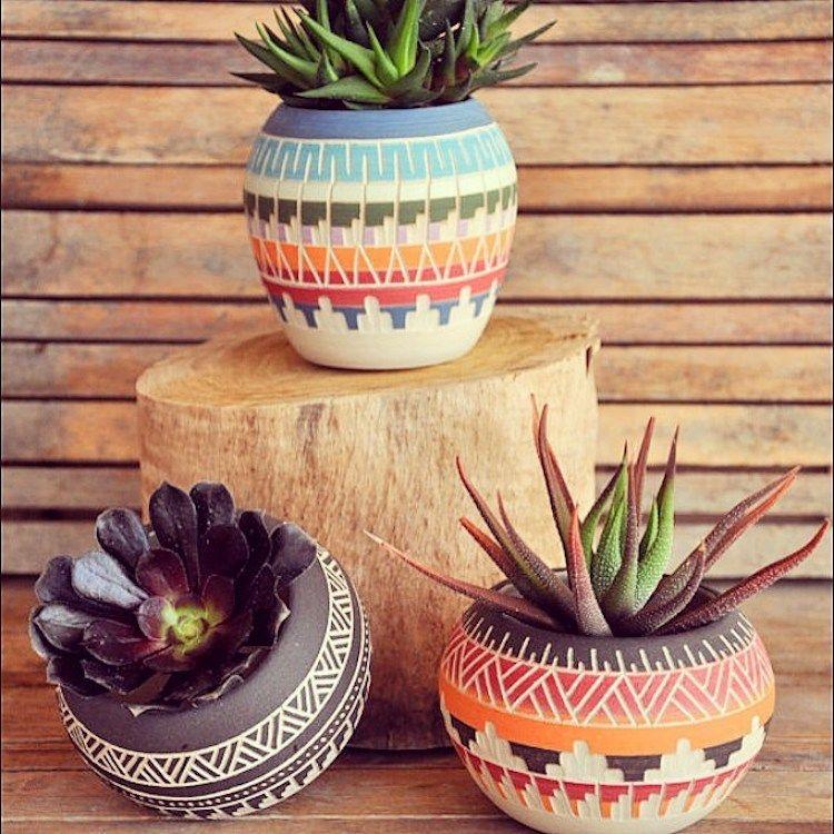 Clay Kedem Bohemian Diesel Blog Pottery Planters Painted Flower Pots White Ceramic Planter