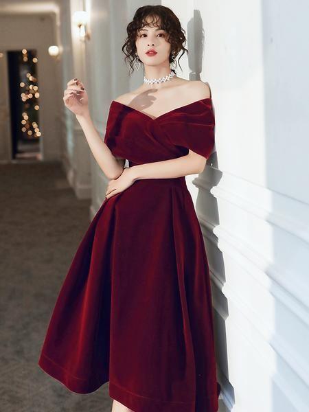 Beautiful Wine Red Velvet Tea Length Party Dress, Bridesmaid Dress