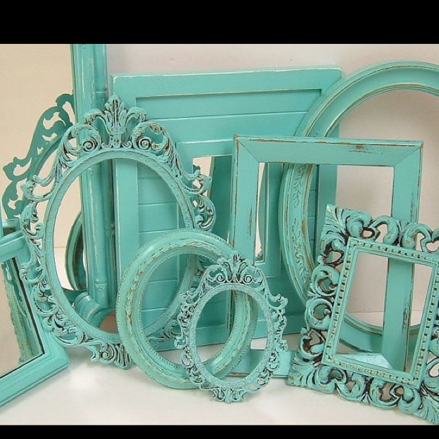 cheap frames (thrift store) paint them wedding colors to bring color ...