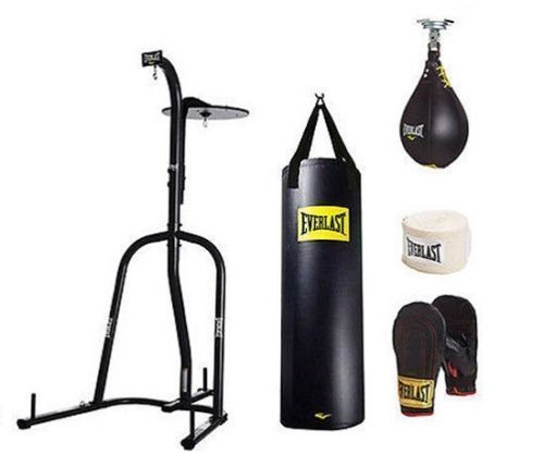 Everlast 100 Lb Heavy Punching Boxing Bag Kit Stand Gloves Speed Kicking Mma Gym Heavy Bag Stand Punching Bag Stand Heavy Bags